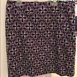 Ann Taylor Pencil Skirt Size 6 purple black white